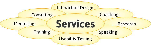 Services: Interaction Design, Consulting, Coaching, Mentoring, Research, Training, Speaking, Usability Testing